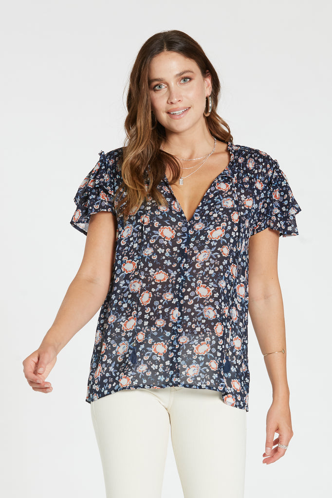CARRIE TOP IN BLUE FLORAL