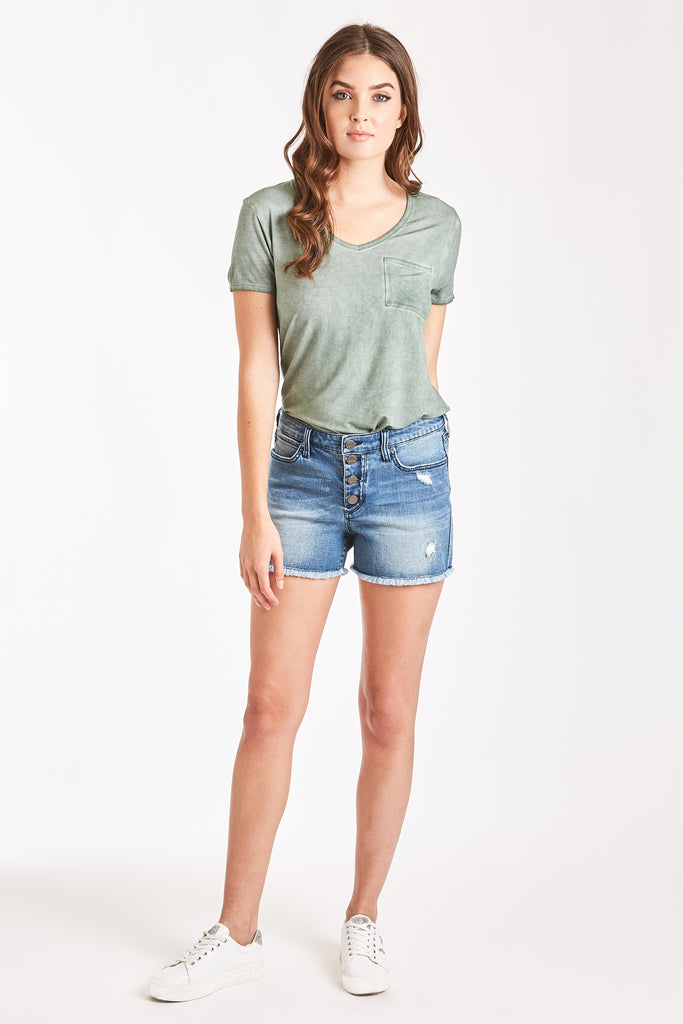 front button denim shorts