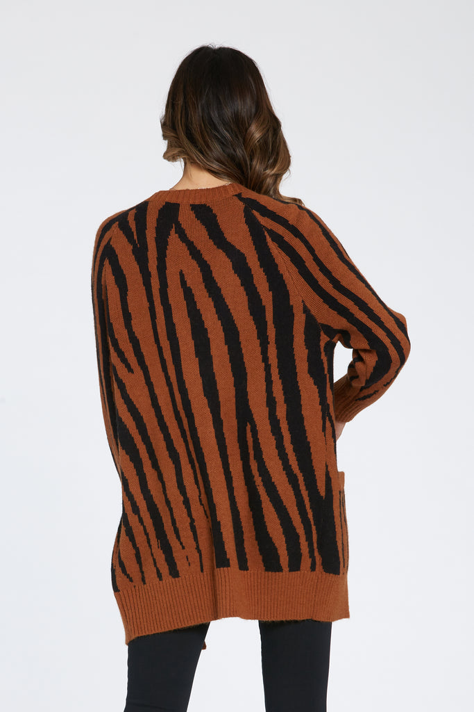 ALUMA ZEBRA CARDIGAN SWEATER