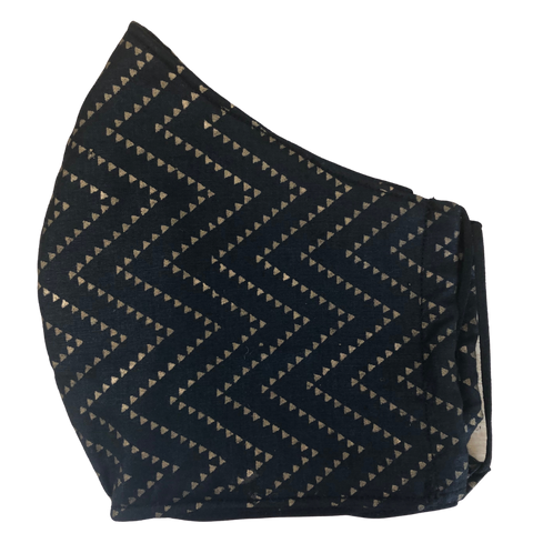 Pocket face mask - Gold zig zag