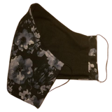 Cloth pocket face mask - Black flowers