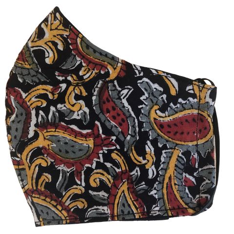 Pocket face mask - Black Paisley