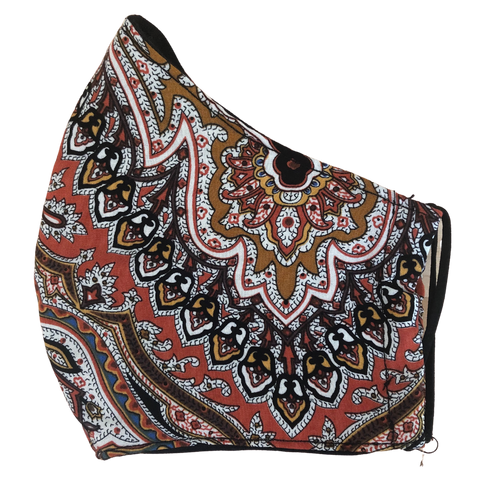 Pocket face mask - Brown Paisley