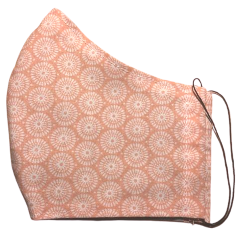 Cloth pocket face mask - Coral flowers