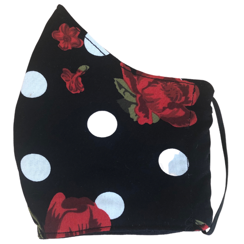 Pocket face mask - Polka dots & roses