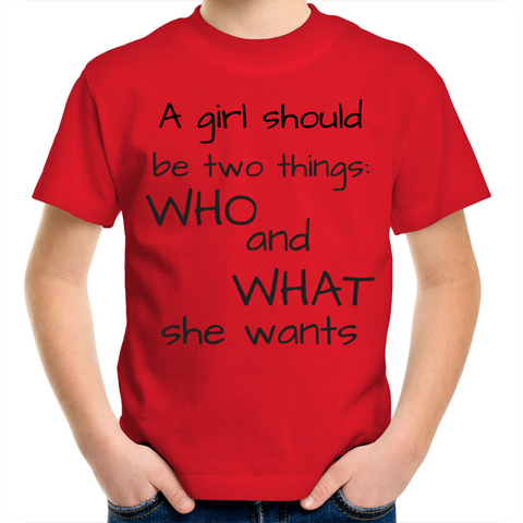 Kids Crew T-Shirt - A girl should be two things (black)
