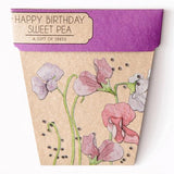 Gift of Seeds Greeting Card - 'Happy Birthday' Sweet Pea