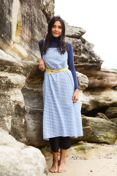 STRIPE SLIP DRESS, BLUE//WHITE - SAAKI