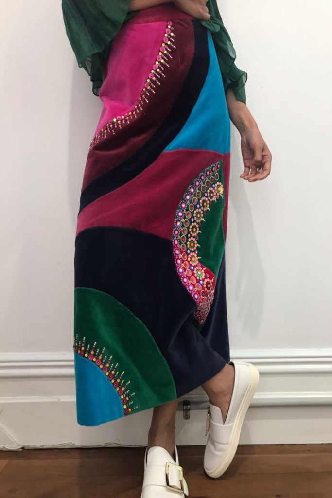PATCHWORK VELVET SKIRT, MULITCOLOR SEQUENCE