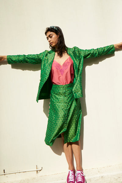 SURYA BLAZER, GREEN SILK BROCADE