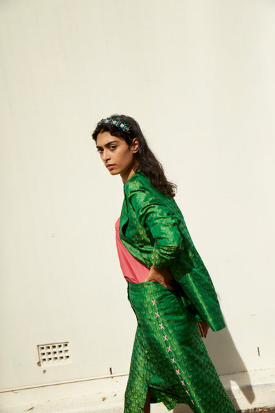SURYA SKIRT, GREEN SILK BROCADE