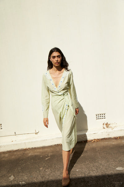 DAISY WRAP DRESS, MINT GREEN / EMBROIDERY