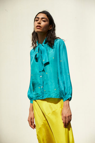 SKY TIE&DYE SHIRT, SILK TEAL