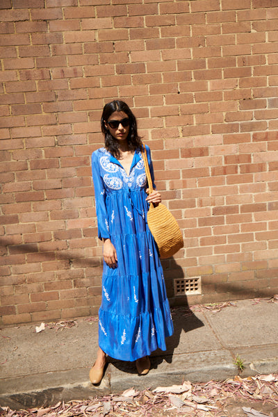 NILA DRESS, BLUE SILK HAND EMBROIDERY