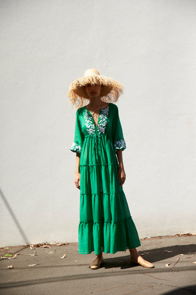 NILA DRESS, GREEN COTTON HAND EMBROIDERY