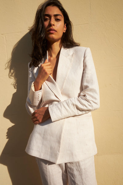 SUMMER STRIPED SUIT - BLAZER & PANTS / LINEN