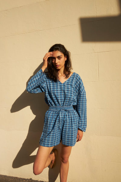 CHECKERED KURTA & SHORTS SET, INDIGO/GREEN COTTON