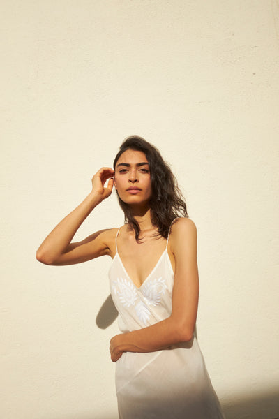 LILY SLIP, IVORY COTTON  SILK/HAND EMBROIDERY