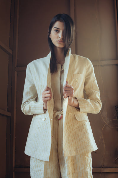 DOUBLE BREASTED WOOL BLAZER, IVORY IKAT - SAAKI