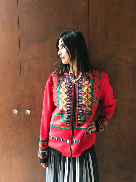 VINTAGE EMBROIDERY SWEATER, RED WOOL - SAAKI