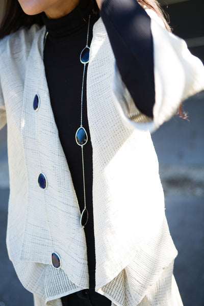 MULTI STONE CAT-EYE NECKLACE, SILVER/BLUE