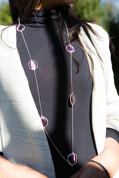 MULTI STONE CAT-EYE NECKLACE, SILVER/PURPLE - SAAKI