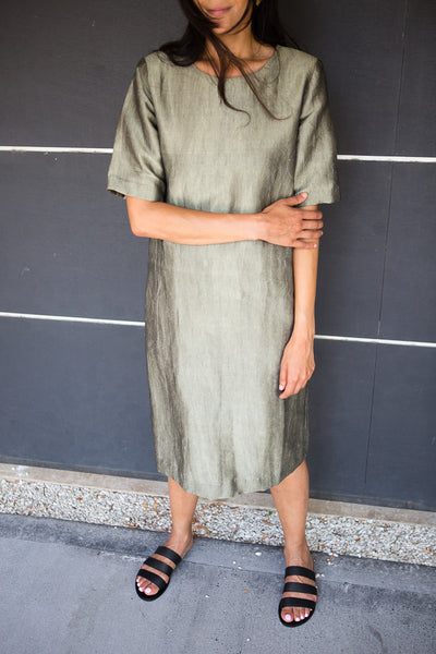HAND WOVEN SILK TUNIC DRESS, OLIVE // SHIMMER