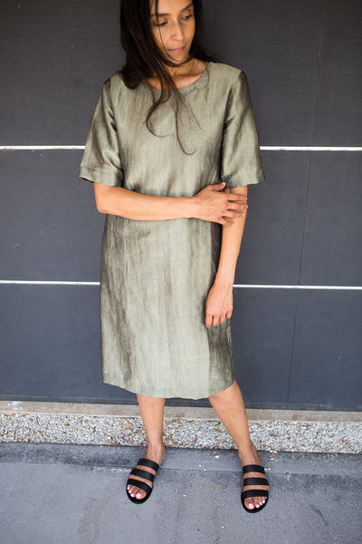 HAND WOVEN SILK TUNIC DRESS, OLIVE // SHIMMER - SAAKI