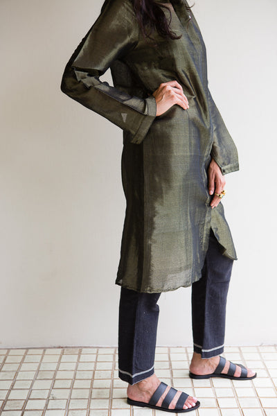 HAND WOVEN SILK JACKET-DRESS, OLIVE STRIPE