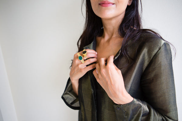HAND WOVEN SILK JACKET-DRESS, OLIVE STRIPE - SAAKI