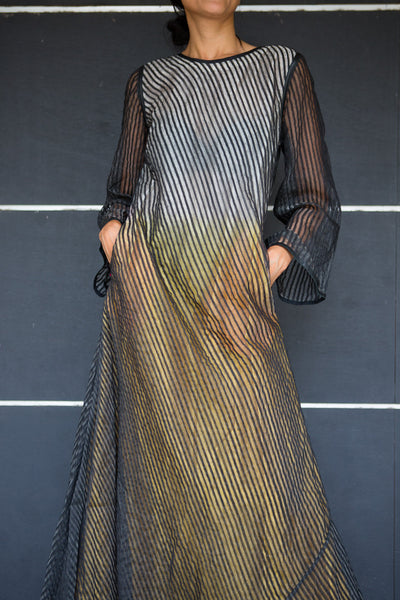 HAND WOVEN MERINO WOOL & SILK MAXI, SHEER BLACK