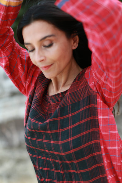 LONG SLEEVED DRESS, RED CHECK - SAAKI