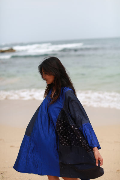 V-NECK BANDHINI KAFTAN DRESS, SHINY NAVY SILK - SAAKI