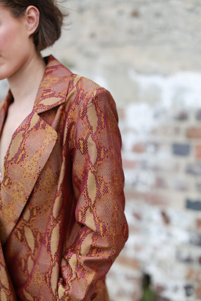 STATEMENT SILK BLAZER , GOLD // PURPLE WILD WEAVE - SAAKI
