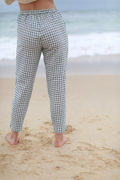 DENISE CHECK TROUSERS, NAVY//OFF-WHITE - SAAKI