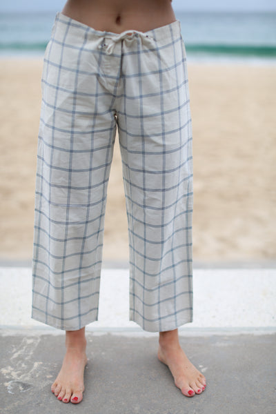 PATLOON TROUSER, CHECK OFF-WHITE/NAVY - SAAKI