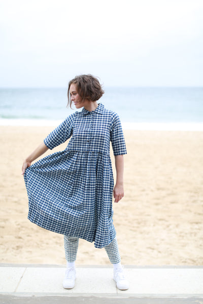 NEEPA SHIRT DRESS, INDIGO/WHITE CHECK - SAAKI