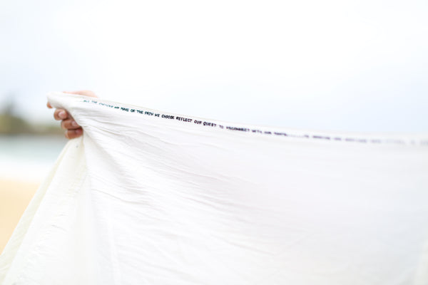 PATCHED EMBROIDERY SCARF, OFF-WHITE - SAAKI