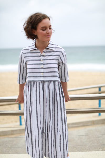 NEEPA SHIRT DRESS, WHITE/GREY STRIPE - SAAKI
