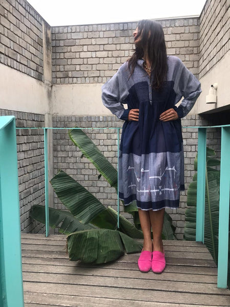 COLOR BLOCK NAVY // LIGHT BLUE SHIRT DRESS - SAAKI