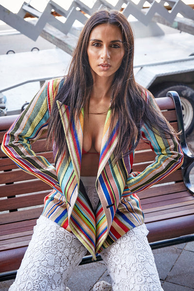 HAND EMBROIDERED STRIPE BLAZER, DOUBLE BREASTED MULTICOLOR - SAAKI