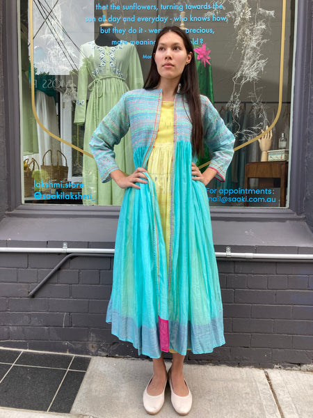 EMBROIDERED COAT DRESS, BLUE COTTON SILK