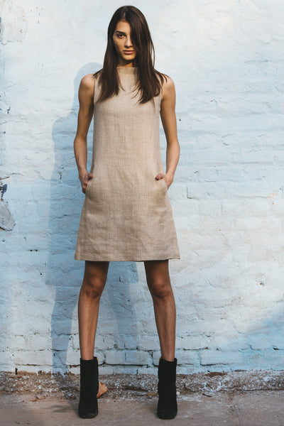 A LINE MINI WOVEN DRESS, ECRU//BEIGE