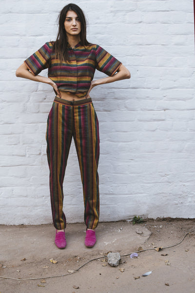HAND WOVEN STRIPE TROUSERS, PINK // MULTICOLOR