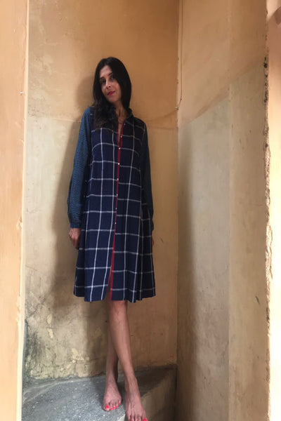 SHIRT DRESS, BLUE // RED - SAAKI