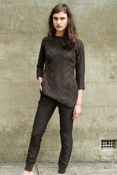 SILK RIBBED TROUSERS, BROWN - SAAKI