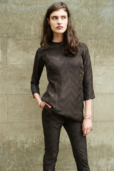 LIGHT SILK SHIRT, BROWN BLOCK PRINT - SAAKI