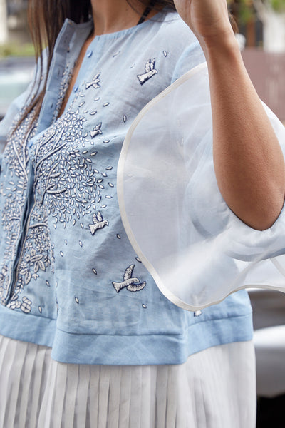 BURSTING TREE & BIRD BLOUSE, BLUE//WHITE PLEAT - SAAKI