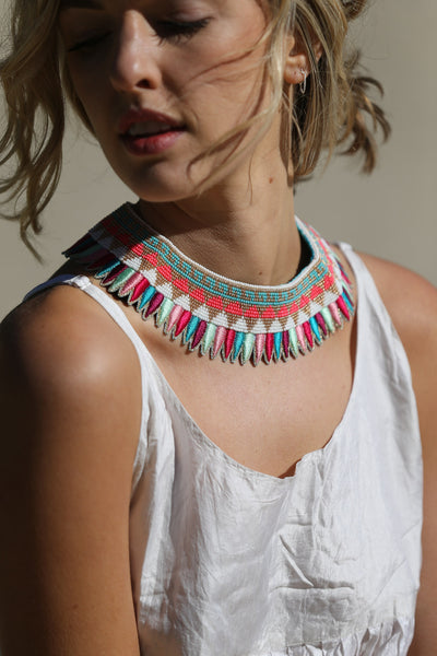 PAM STATEMENT NECKPIECE, SILK MULTICOLOR - SAAKI