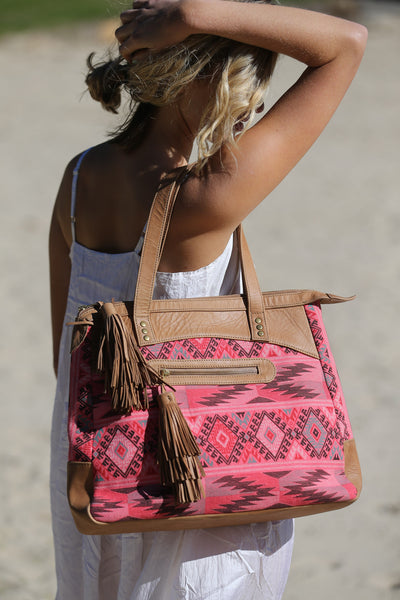 JOANNA TOTE BAG, LEATHER+AZTEC PRINT - SAAKI
